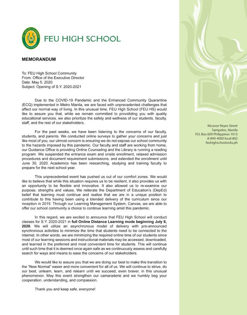 FEU High School announces S.Y. 2020-2021