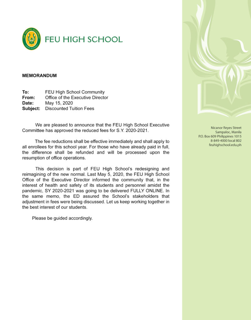 FEU High School announces the reduced fees for S.Y. 2020-2021