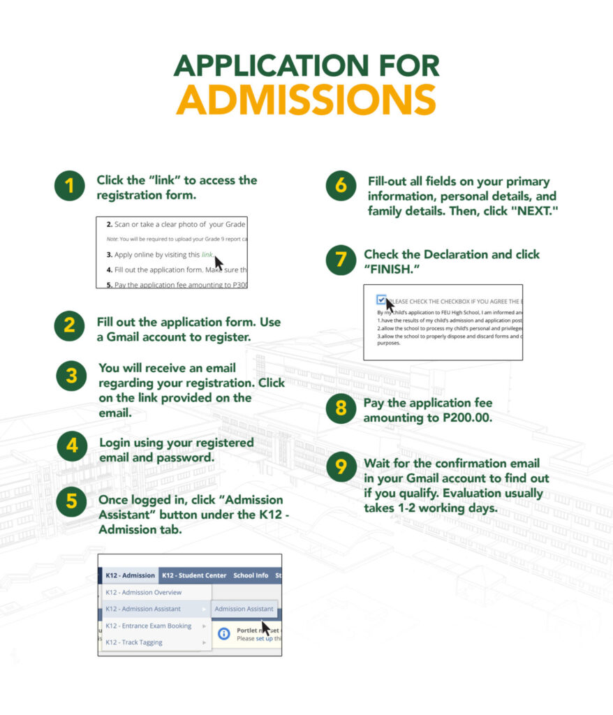 Application for Admissions to Grade 11